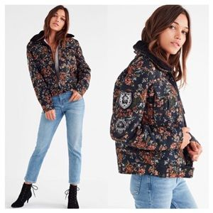 BLANK NYC Floral Tapestry Flight Jacket Fur Collar